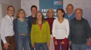 Der Vorstand des Weltfriedensdienst (v.l.n.r.): Marcel Gounot, Petra Symosek, Julian Friedrich, Silvia Lange, Ursula Reich, Uta Gerweck, Gerd Hönscheid-Gross, Lutz Taufer
