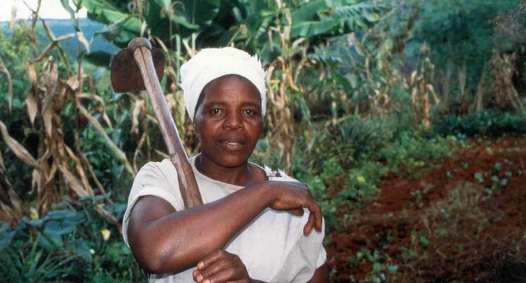 Kleinbauerin mit Hacke vor ihrem Feld