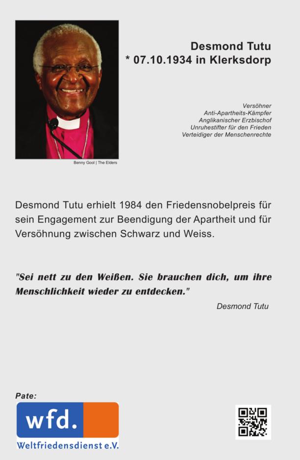 Tafel des Friedensnobelpreisträgers Desmond Tutu Pate Weltfriedensdienst