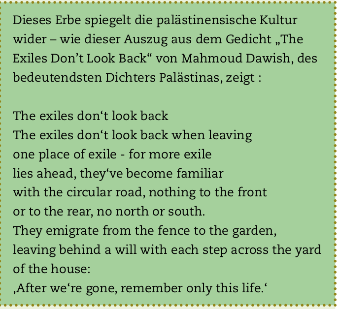 """""""The Exiles Dont't Look Back"""" von Mahmoud Dawish"""