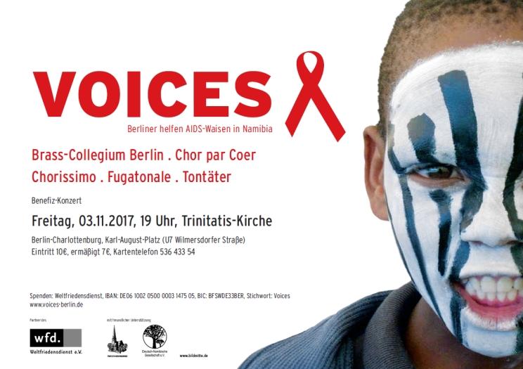 Konzerteinladung von Voices zugunsten von Katutura-Kinderprojekten