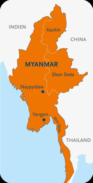 Karte der Regionen Myanmars