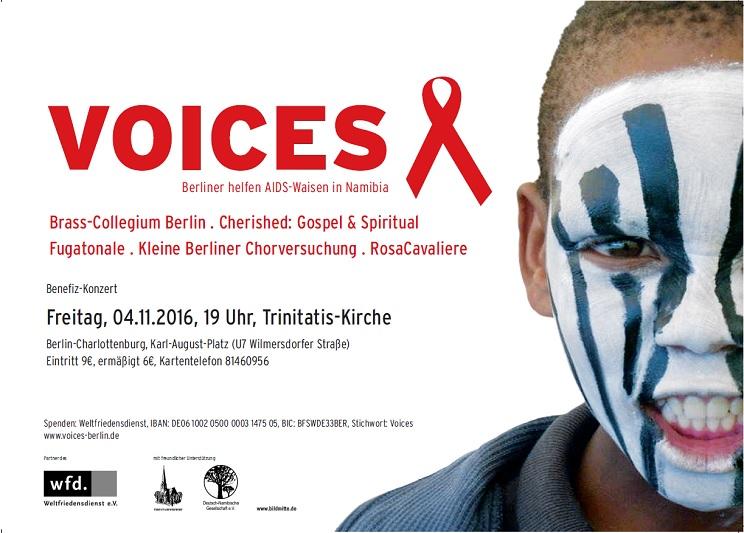 Namibisches Kind mit Gesichtsbemahlung wirbt für VOICES 2016 - Berliner Chöre veranstalten ein Benefizkonzert für AIDS-Waisen in Namibia
