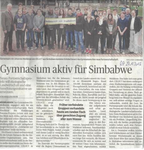 Über den Besuch aus Simbabwe am Hückelhoven Gymnasium berichtete auch die Rheinische Post