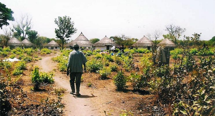 Mann auf dem Weg in ein Dorf in Senegal. In Senegal ist Landgrabbing ein Problem.