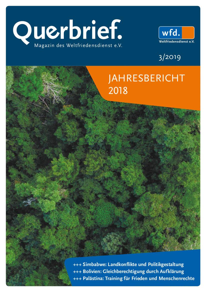 Jahresbericht 2018 des Weltfriedensdienst. Cover.